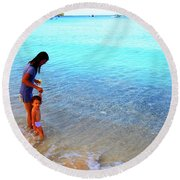 Round Beach Towel featuring the photograph Into The Blue Cokes by Jez C Self