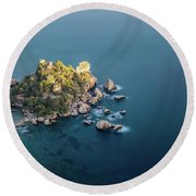 Into The Blue Round Beach Towel by Giuseppe Torre
