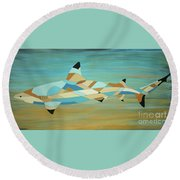Into The Blue I Shark Painting Round Beach Towel