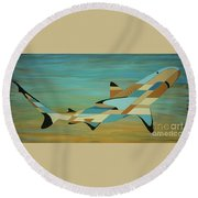 Into The Blue Shark Painting Round Beach Towel
