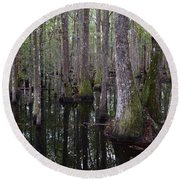 Into The Cypress Swamp Round Beach Towel