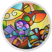 Into The Day Round Beach Towel by Sally Trace