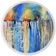 Round Beach Towel featuring the painting Into The Earth by Nancy Jolley