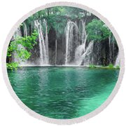 Into The Waterfalls - Plitvice Lakes National Park Croatia Round Beach Towel