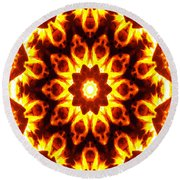 Round Beach Towel featuring the digital art Into The Fire by Shawna Rowe