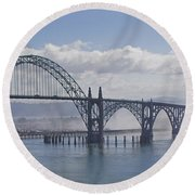 Into The Fog At Newport Round Beach Towel