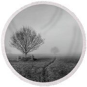 Into The Fog Round Beach Towel
