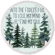 Into The Forest Round Beach Towel