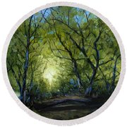 Round Beach Towel featuring the painting Into The Light by Billie Colson