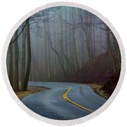 Round Beach Towel featuring the photograph Into The Mist by Douglas Stucky