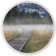 Round Beach Towel featuring the photograph Into The Mist by Sandra Bronstein