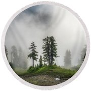 Into The Myst Round Beach Towel