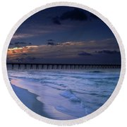 Round Beach Towel featuring the photograph Into The Night by Renee Hardison