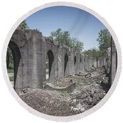 Round Beach Towel featuring the photograph Into The Ruins 2 by Melissa Lane