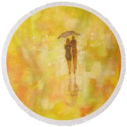 Round Beach Towel featuring the painting Into The Sunset by Raymond Doward