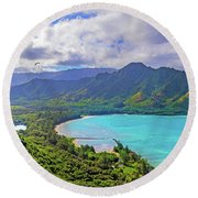 Into The Valley Round Beach Towel by James Roemmling