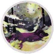 Round Beach Towel featuring the painting Into The Woods 2 by Anil Nene