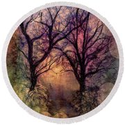 Round Beach Towel featuring the painting Into The Woods by Annette Berglund