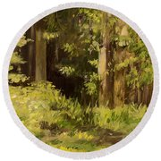 Round Beach Towel featuring the painting Into The Woods by Laurie Rohner