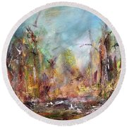 Into Those Woods Round Beach Towel