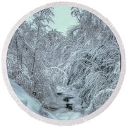Round Beach Towel featuring the photograph Into White by Wayne King
