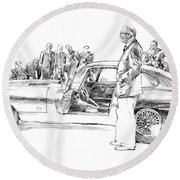 Introducing The 1962 Jag E-type Coupe Round Beach Towel