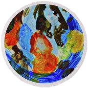 Round Beach Towel featuring the painting Intuitive Painting  215 by Joan Reese