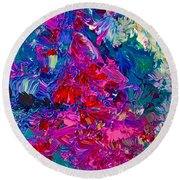 Round Beach Towel featuring the painting Intuitive Painting by Joan Reese