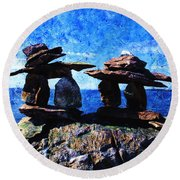 Round Beach Towel featuring the photograph Inukshuk by Zinvolle Art