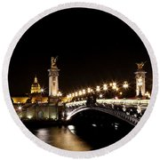 Round Beach Towel featuring the photograph Invalides At Night 1 by Andrew Fare