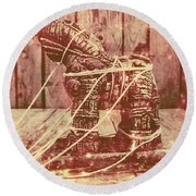 Invasion In Ancient History Round Beach Towel