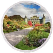 Inveraray Castle Garden In Autumn Round Beach Towel