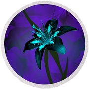 Inverse Lily Round Beach Towel by Judy Johnson