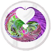 Round Beach Towel featuring the digital art Invert Hearts by Adria Trail