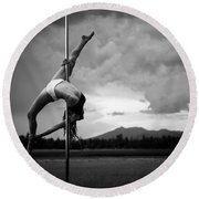 Inverted Splits Pole Dance Round Beach Towel