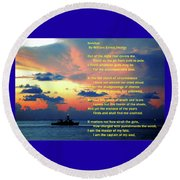 Invictus By William Ernest Henley Round Beach Towel