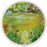 Round Beach Towel featuring the painting Invincible Spring by Judith Rhue