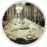 Invitation To Dinner At The Castle... Round Beach Towel