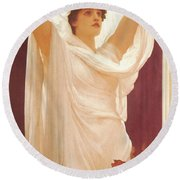Invocation Round Beach Towel by Frederick Lord Leighton