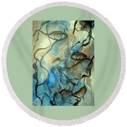 Round Beach Towel featuring the painting Inward Vision by Raymond Doward