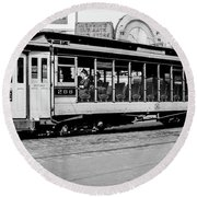 Round Beach Towel featuring the photograph Inwood Crosstown Trolley  by Cole Thompson