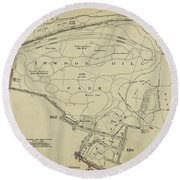 Round Beach Towel featuring the photograph Inwood Hill Park 1950's Map by Cole Thompson