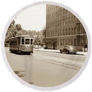Round Beach Towel featuring the photograph Inwood Trolley  by Cole Thompson