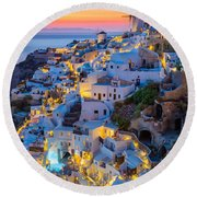 Oia Sunset Round Beach Towel