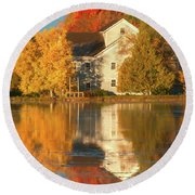 Iola Mill Fall Reflection Round Beach Towel by Trey Foerster