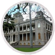 Round Beach Towel featuring the photograph Iolani Palace, Honolulu, Hawaii by Mark Czerniec
