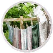 Iowa Farm Laundry Day  Round Beach Towel by Wilma Birdwell