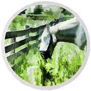 Iowa Farm Pasture And White Horse Round Beach Towel by Wilma Birdwell