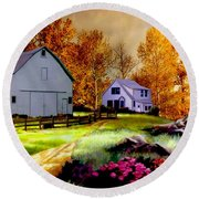 Iowa Farm Round Beach Towel