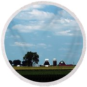 Iowa Farm  Round Beach Towel by Yumi Johnson